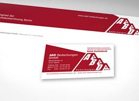 Entwicklung Erscheinungsbild ABD-Bedachungen, Geschäftsausstattungen, Beschilderung, Fahrzeuge - durchgedacht, Kommunikationsagentur Berlin
