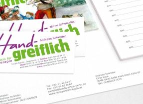 Entwicklung Erscheinungsbild, Logogestaltung, Geschäftsausstattung, Beschilderung für Physiotherapiepraxis durch Kommunikationsagentur durchgedacht in Berlin