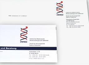 Entwicklung und Umsetzung Geschäftsausstattung medizinisches Forschungsunternehmen durch Kommunikationsagentur durchgedacht in Berlin