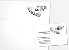 Entwicklung Entwicklung Erscheinungsbild Geschäftsausstattungen für Vitesse Fabry - Messtechnikunternehmen