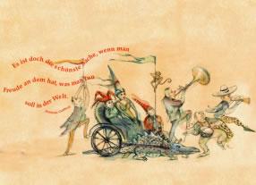Illustrationen zu verschiedenen Anlässen, illustrierte Einladungen, illustrierte Broschüren, illustrierte Karten, Kommunikationsagentur durchgedacht in Berlin
